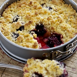 Apricot and Blackberry Crumble