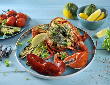 Grilled stuffed lobster