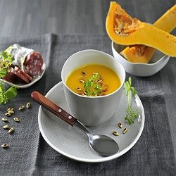 Pumpkin and chorizo soup